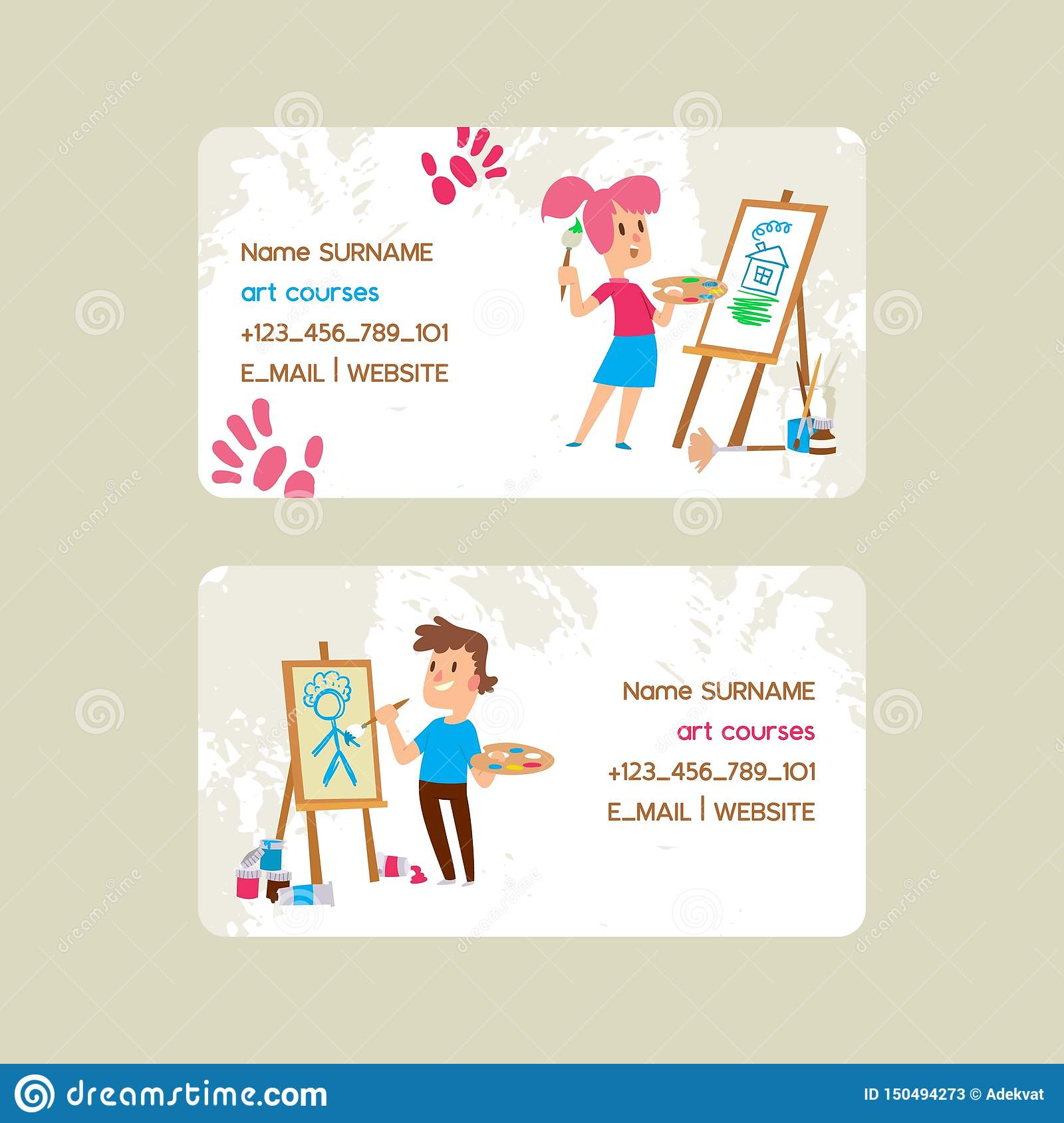 Art courses school set of business cards vector illustration. Girl and boy drawing, painting, sketching on easel
