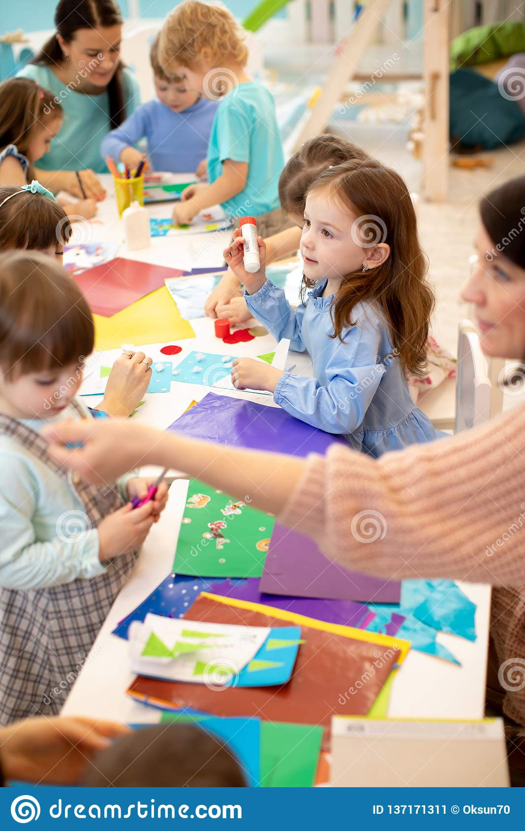 Art And Craft Activity In The Kindergarten Group Of Preschool Kids