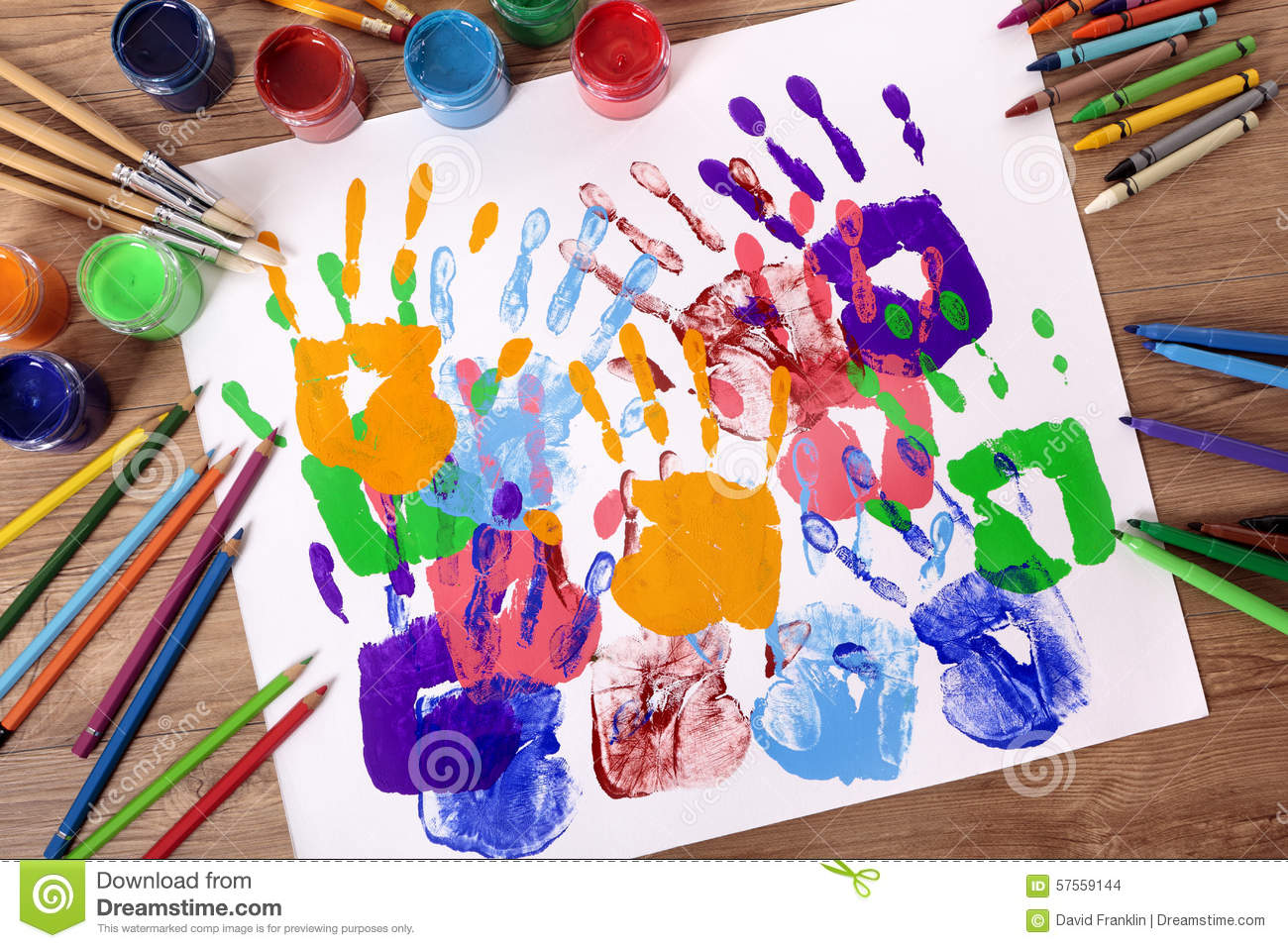 Art and craft class hand prints painting supplies for Arts and crafts style prints