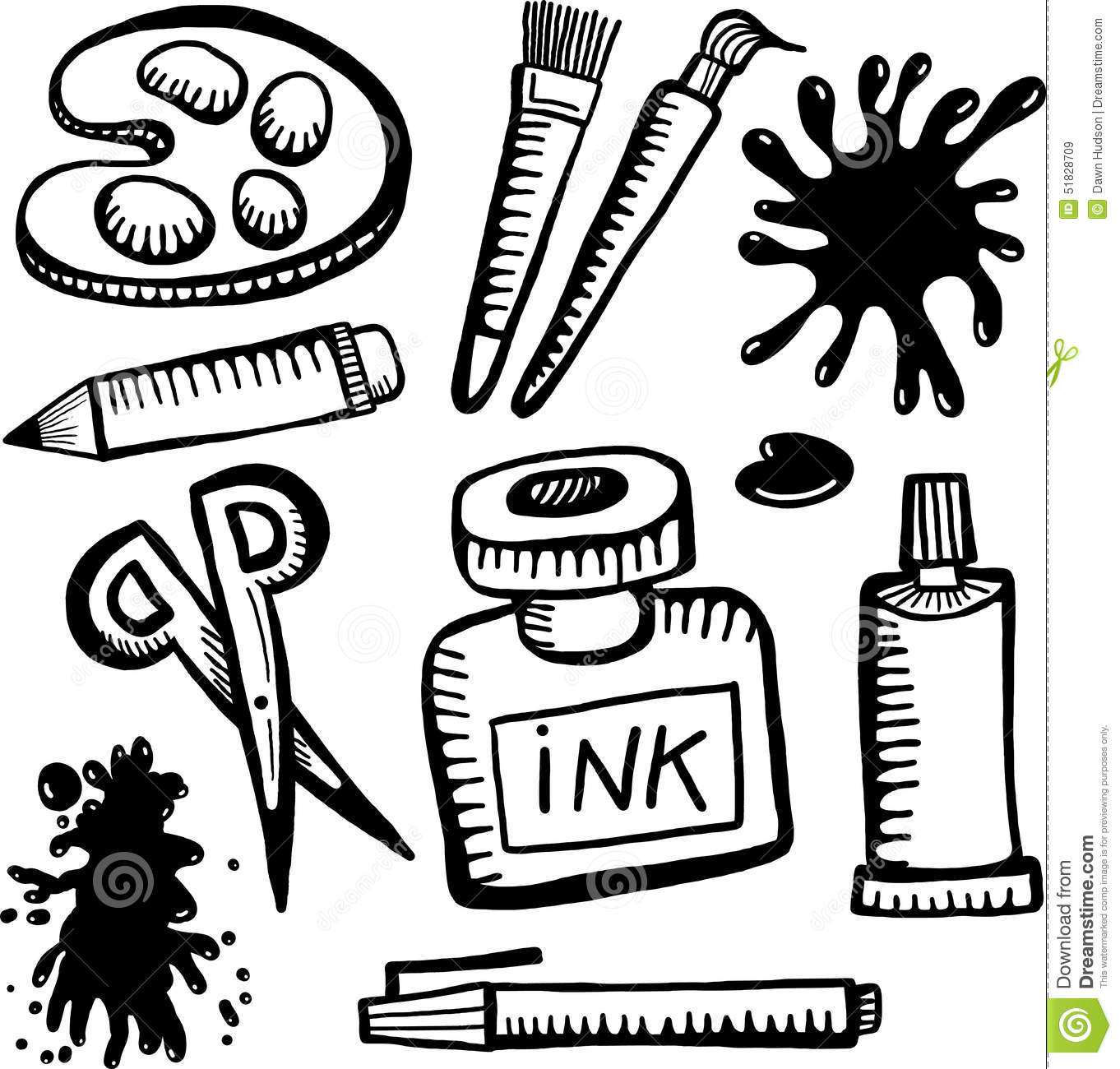 Art And Craft Objects Stock Illustration Illustration Of Doodles