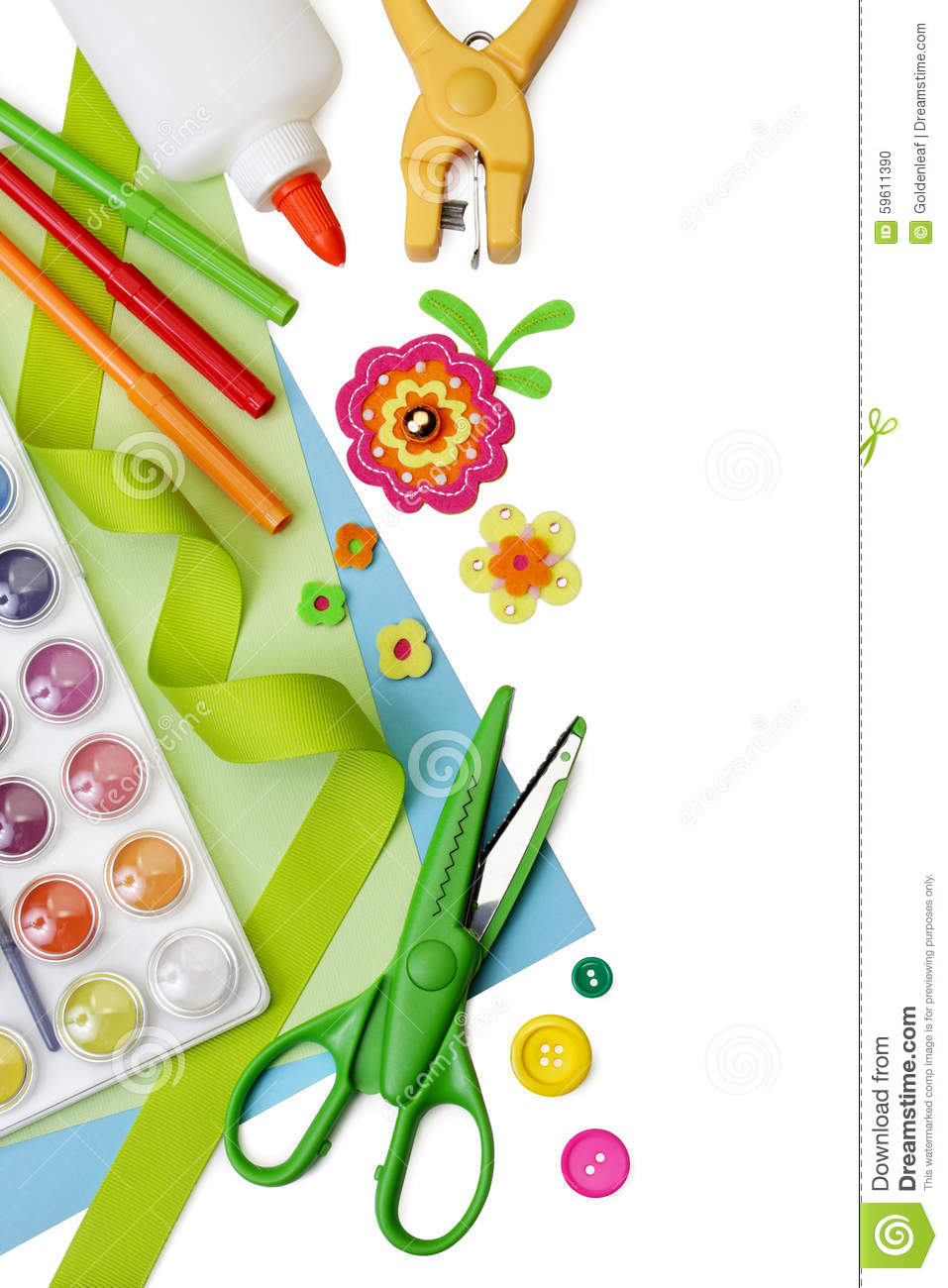 Art And Craft Supplies, With Copy Space Stock Photo ... School Desk Background