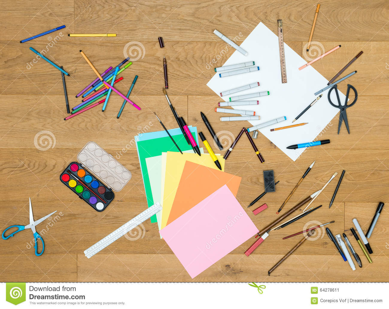 Art and craft tools on wooden table stock photo image for Arts and crafts tools