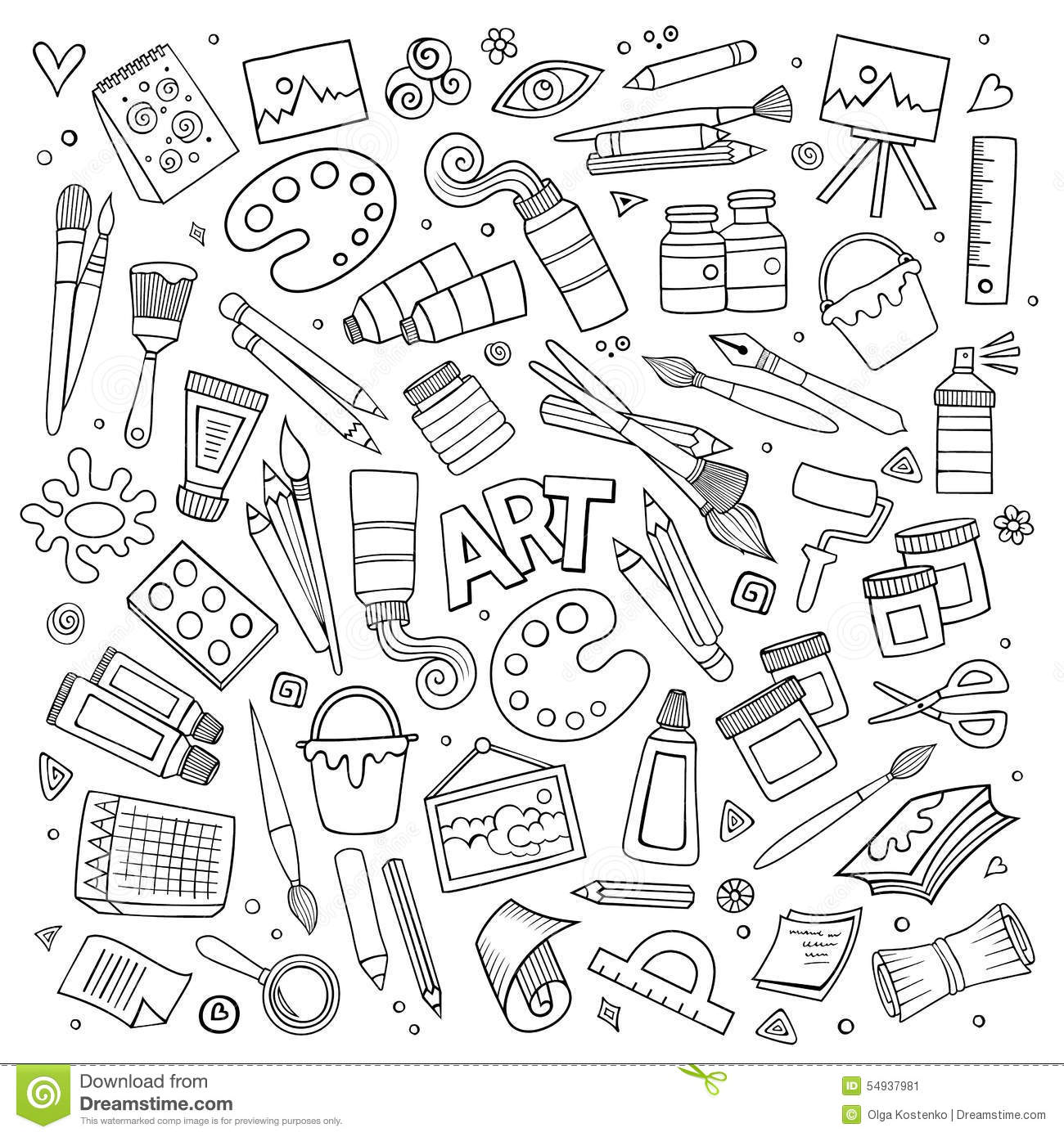 Hand Drawn Art And Craft Vector Symbols And Objects Stock Vector