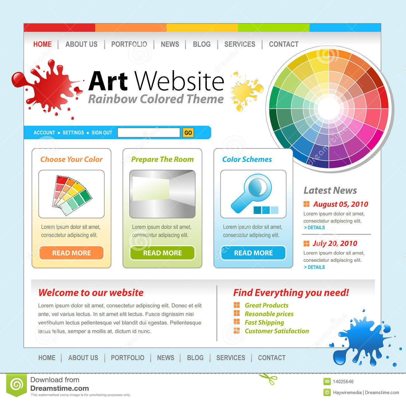 Art Creative Paint Website Template Design Royalty Free Stock Image ...