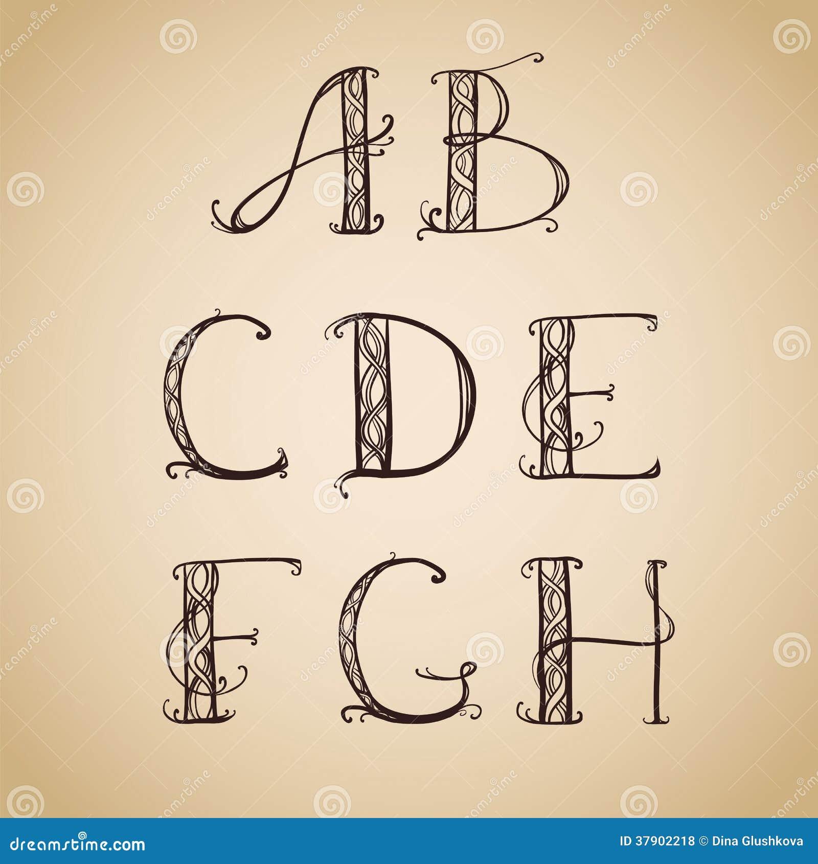 Art Déco, Art Nouveau, Police, Lettre Illustration de Vecteur ...