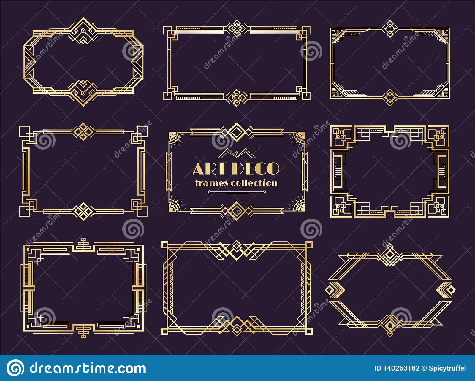 Art décogränsuppsättning Guld- 20-talramar, lyxig geometrisk stil för nouveau, abstrakt tappningprydnad Vektorart déco
