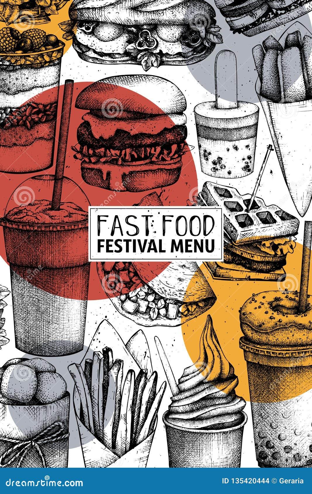 Art d aliments de préparation rapide Conception gravée de style avec le dessin de vecteur pour le logo, icône, label, emballage,