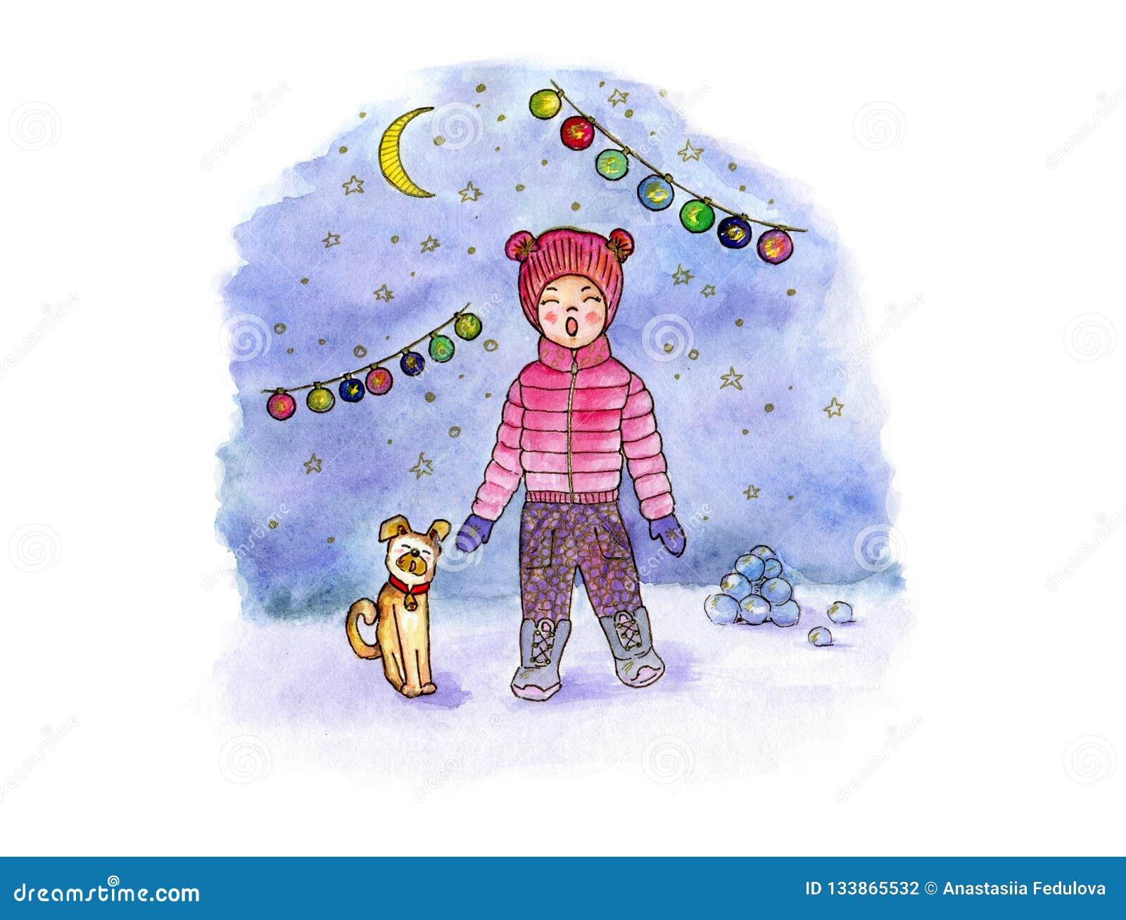 Art d aquarelle de dessin de main avec la fille, le chien, la lune et la guirlande chanteurs dans la perspective d une soirée nei