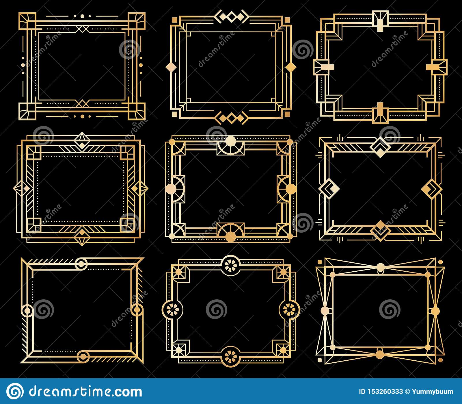 Art d?coramar Guld- gränser för decobildram, guld- geometrilinje modeller beståndsdelar för konst för 20-taltappning lyxiga vekto