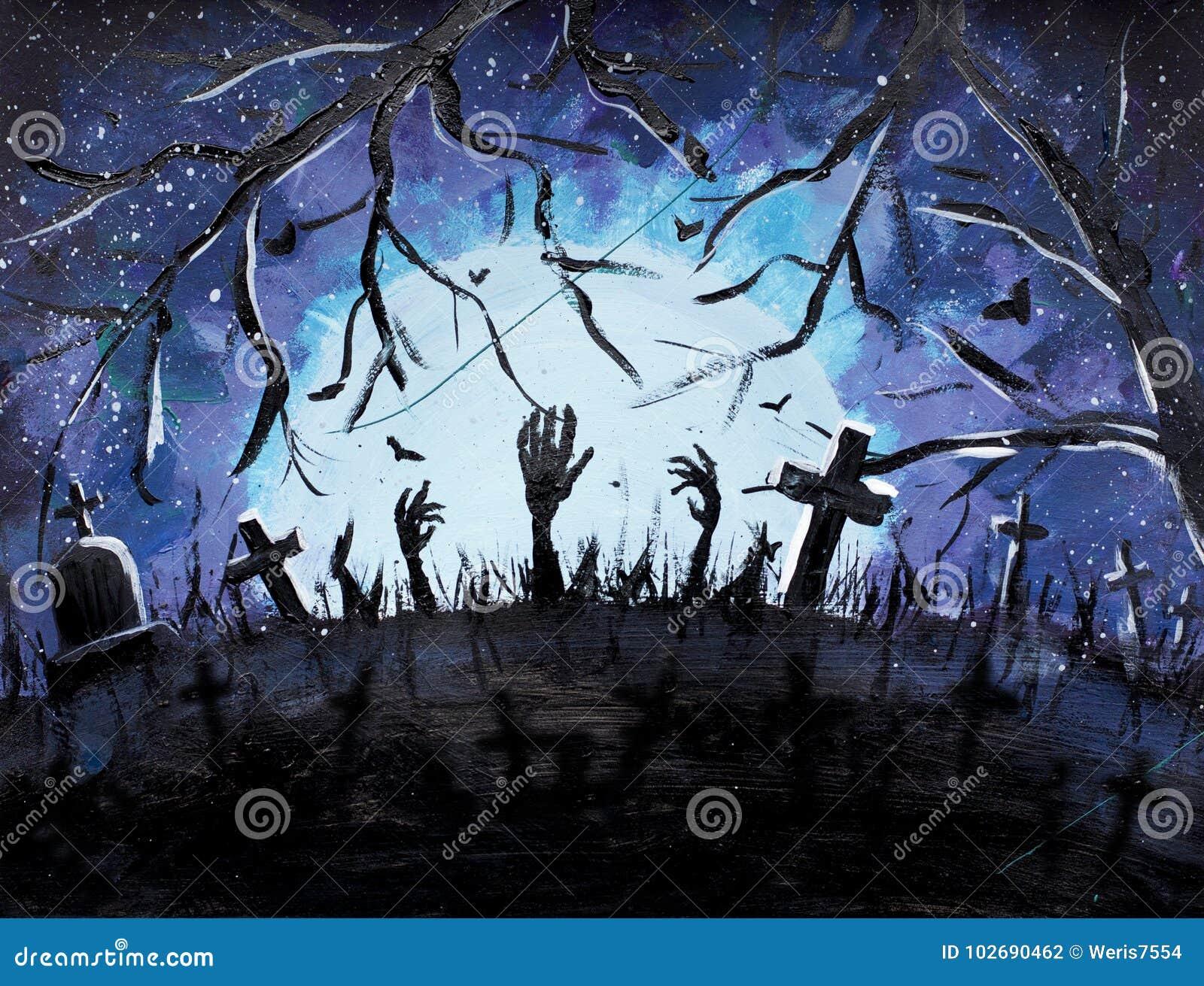 Art De Halloween, Tombes Foncées Et Battes Dans La Peinture Bleue De Forêt,  Illustration Musique De Nuit Illustration Stock - Illustration du tombes,  halloween: 102690462