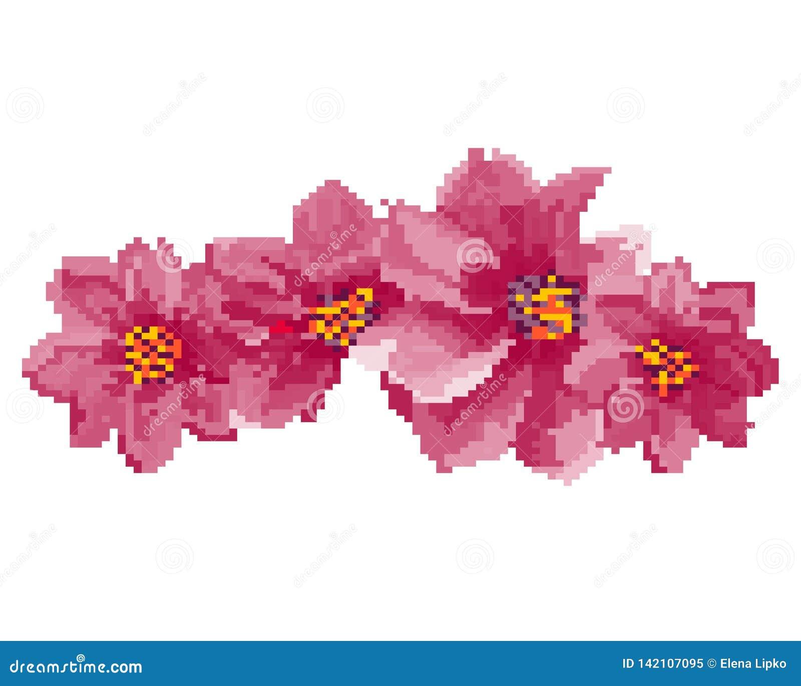 Art De Pixel Dillustration De Fleurs Disolement Sur Le