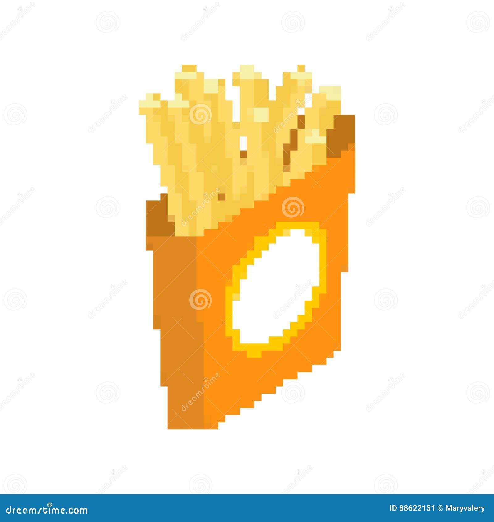 Art De Pixel De Pommes Frites Aliments De Préparation Rapide
