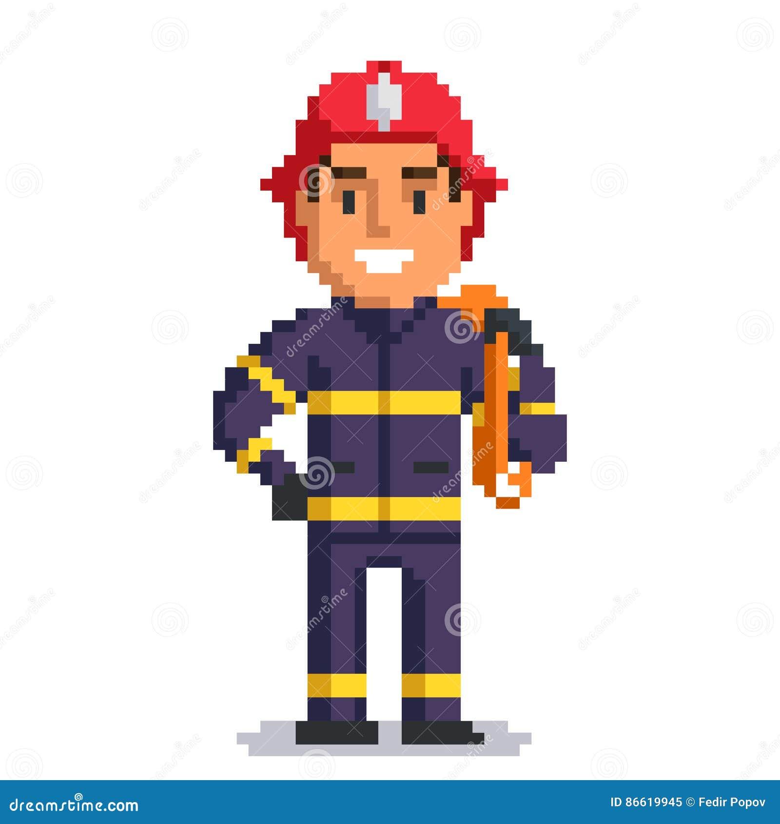 Art De Pixel De Sapeur Pompier Illustration De Vecteur