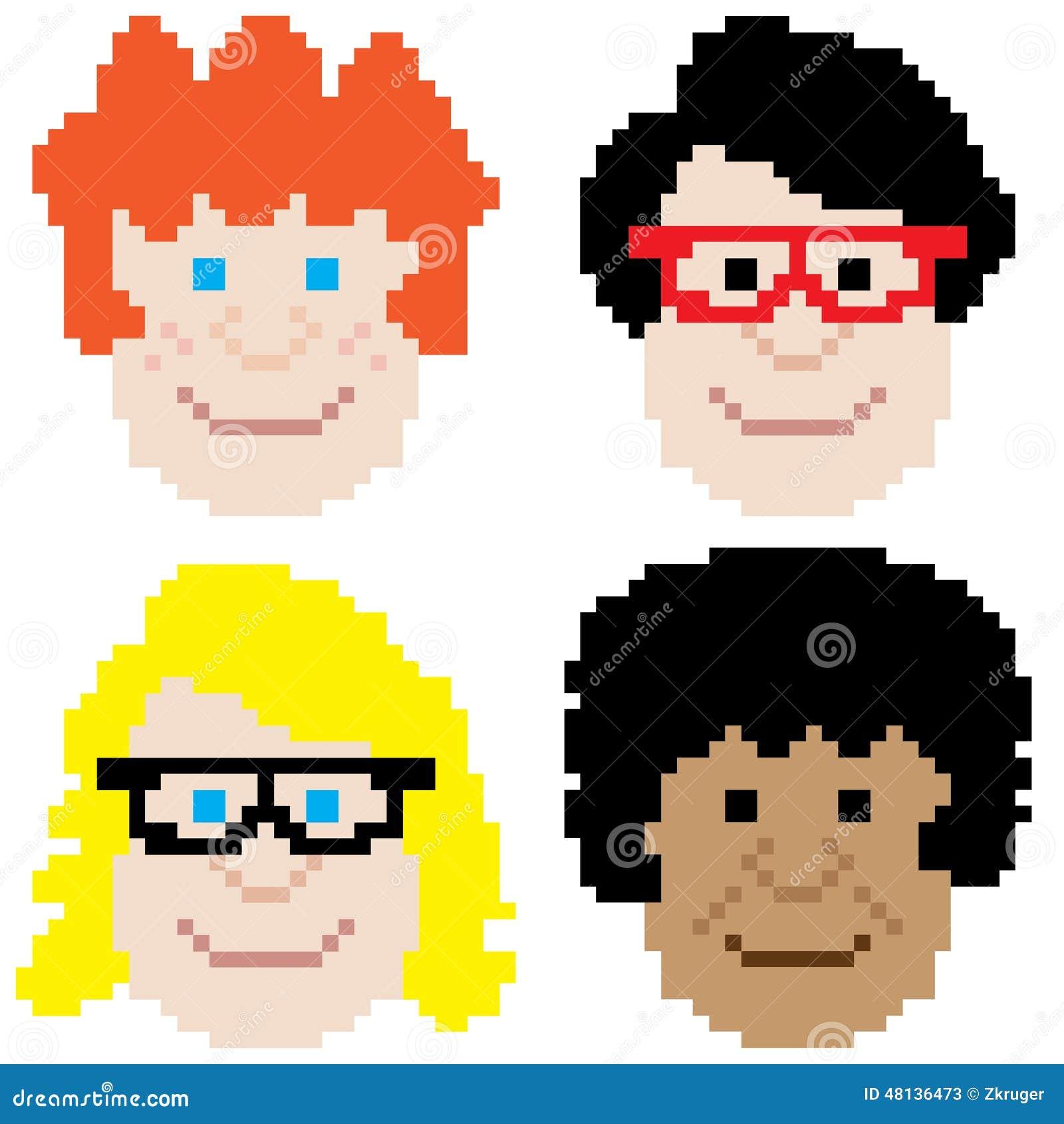 pixel art visage