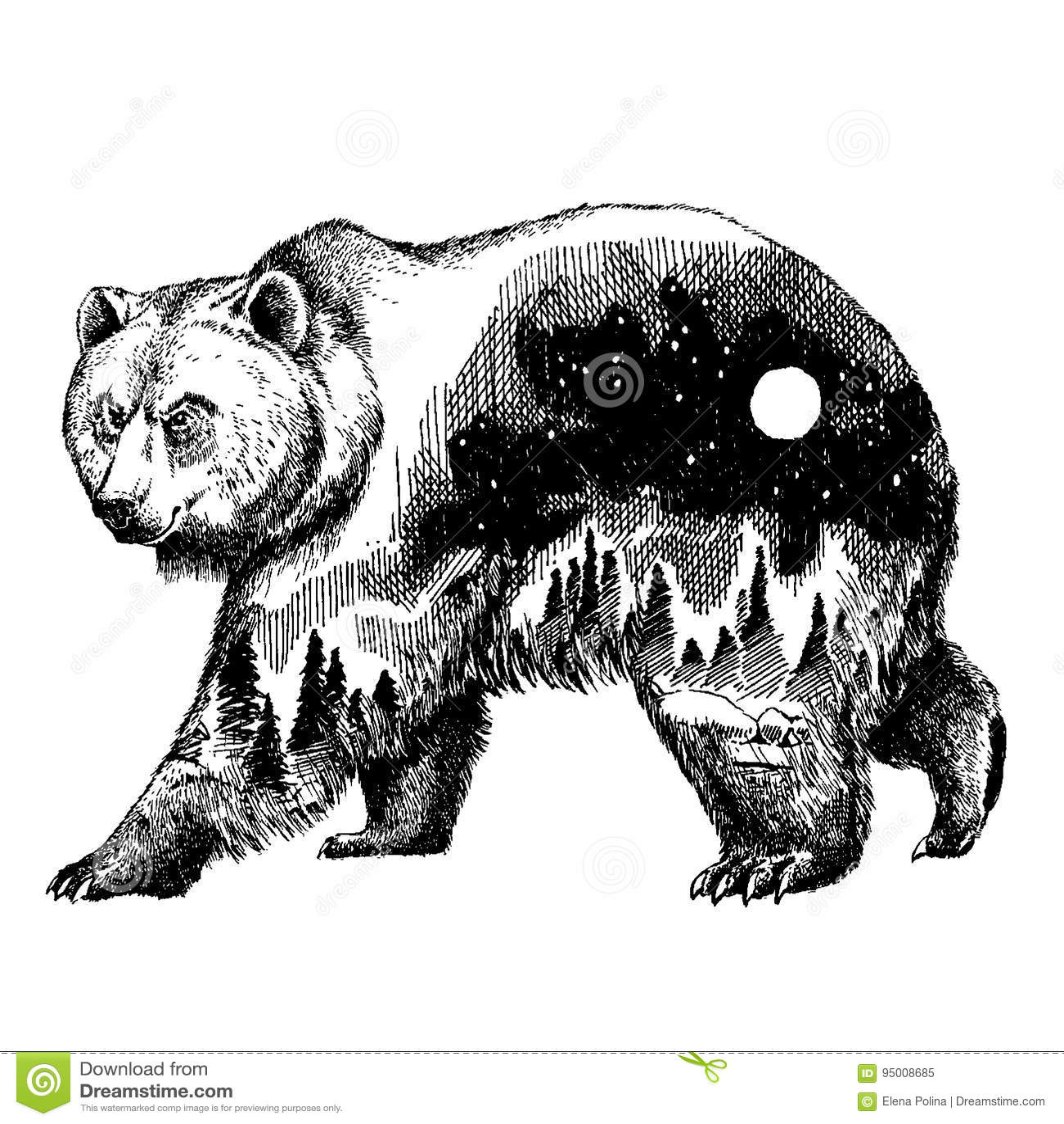 Art De Tatouage De Double Exposition D Ours De Vecteur Canada