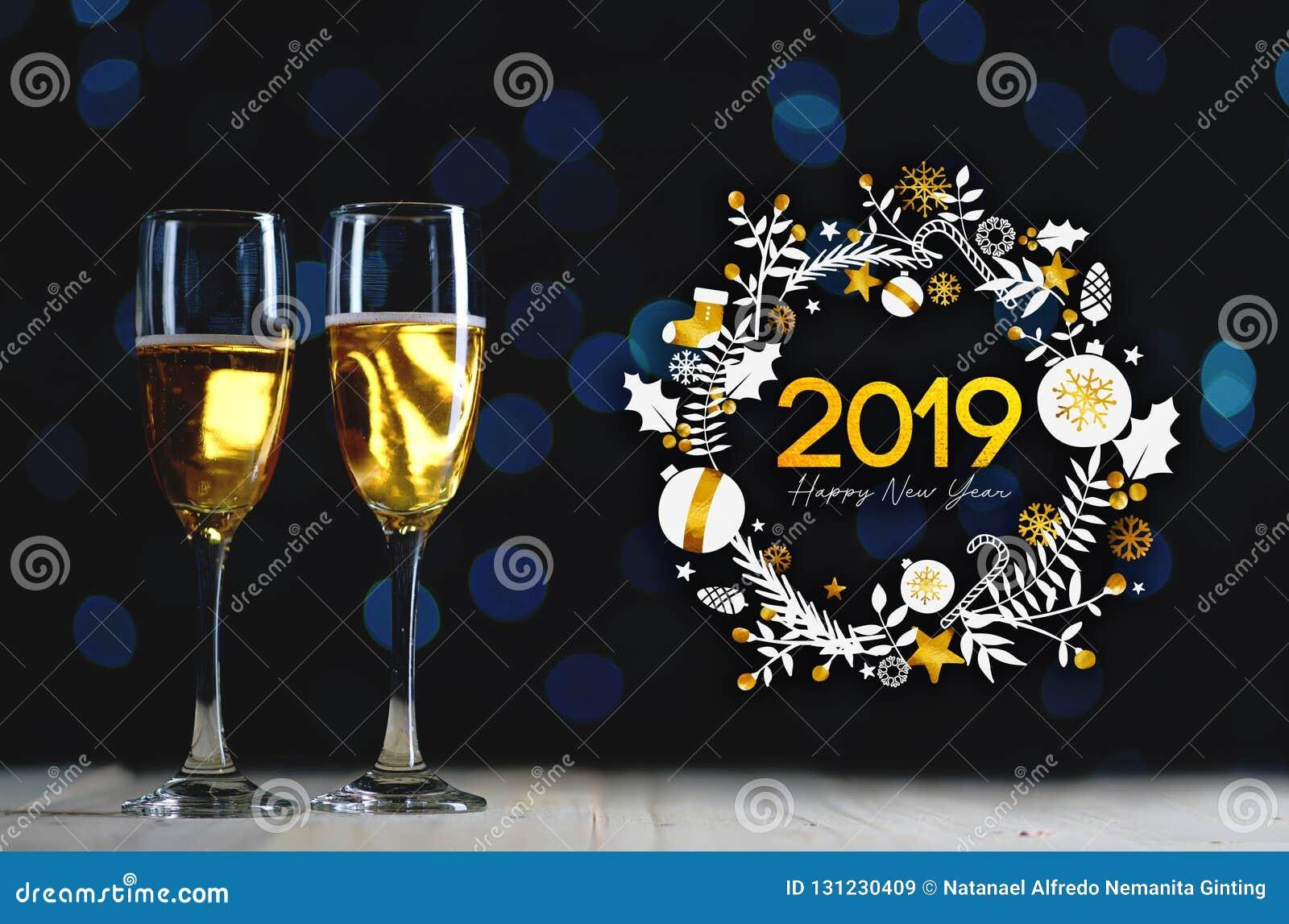 Art 2019 de typographie Deux verres de Champagne Dark Glow Lights B