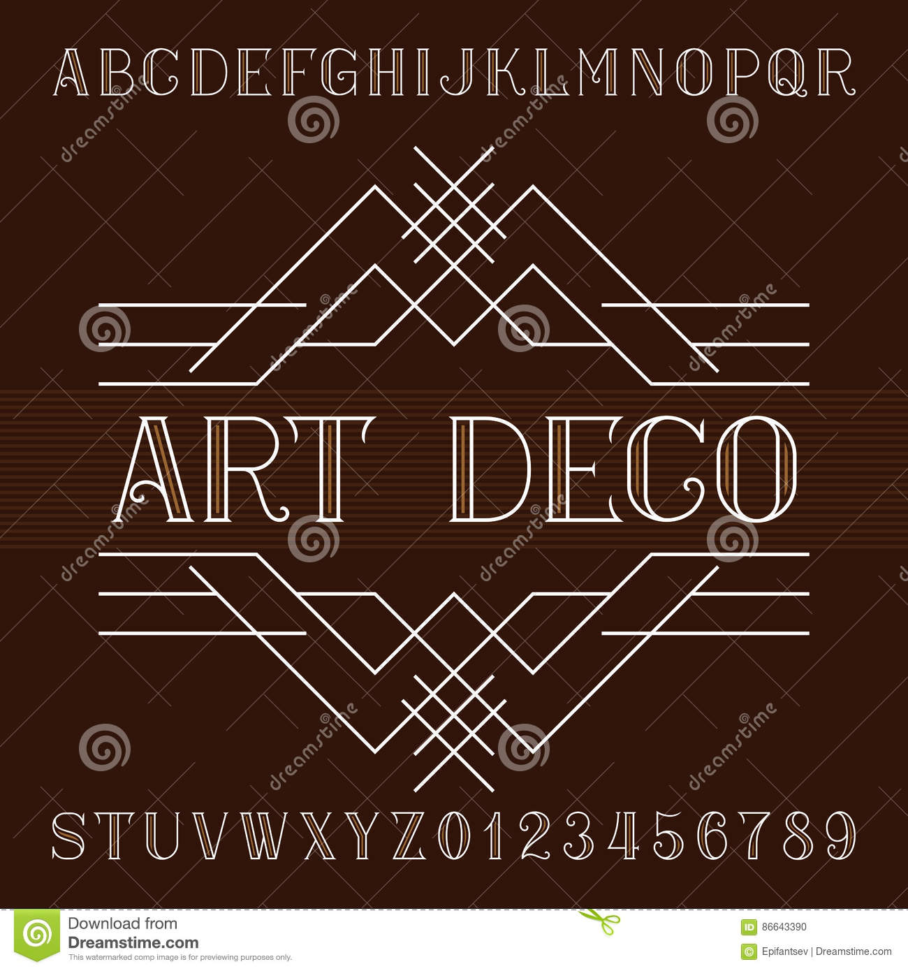 art deco alphabet vector font in outline style serif type letters and numbers