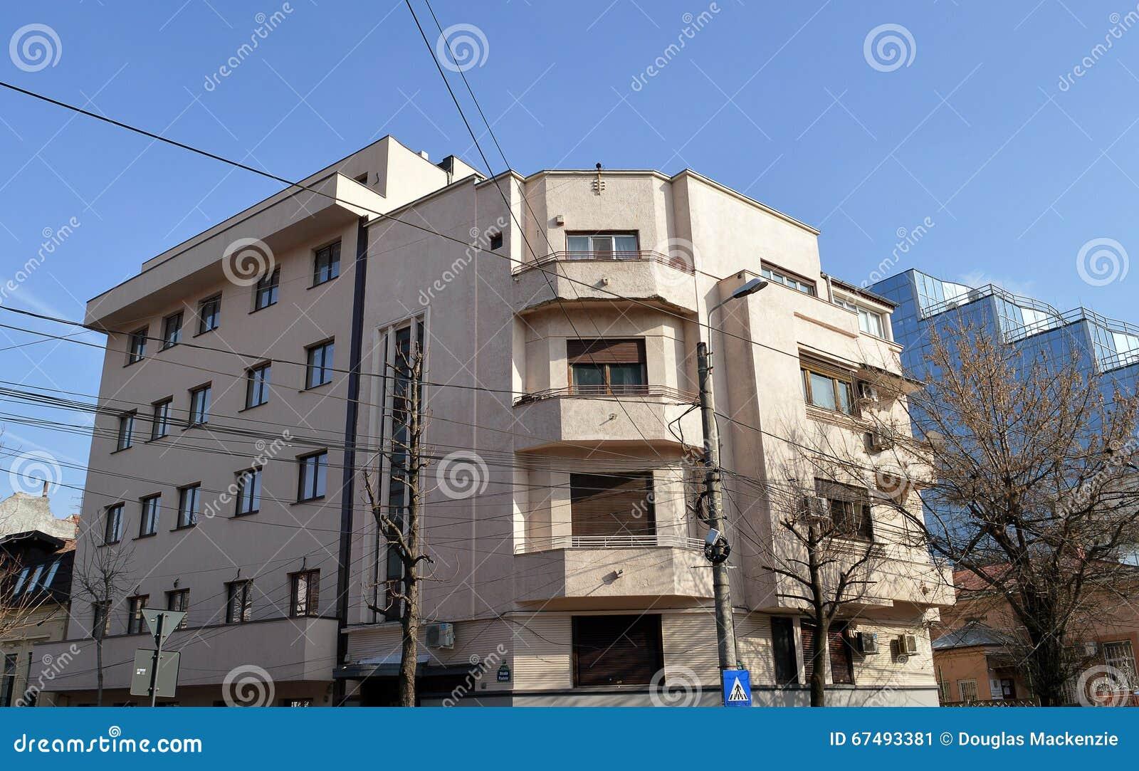 Art deco apartment block bucharest romania stock image for Bucharest apartments