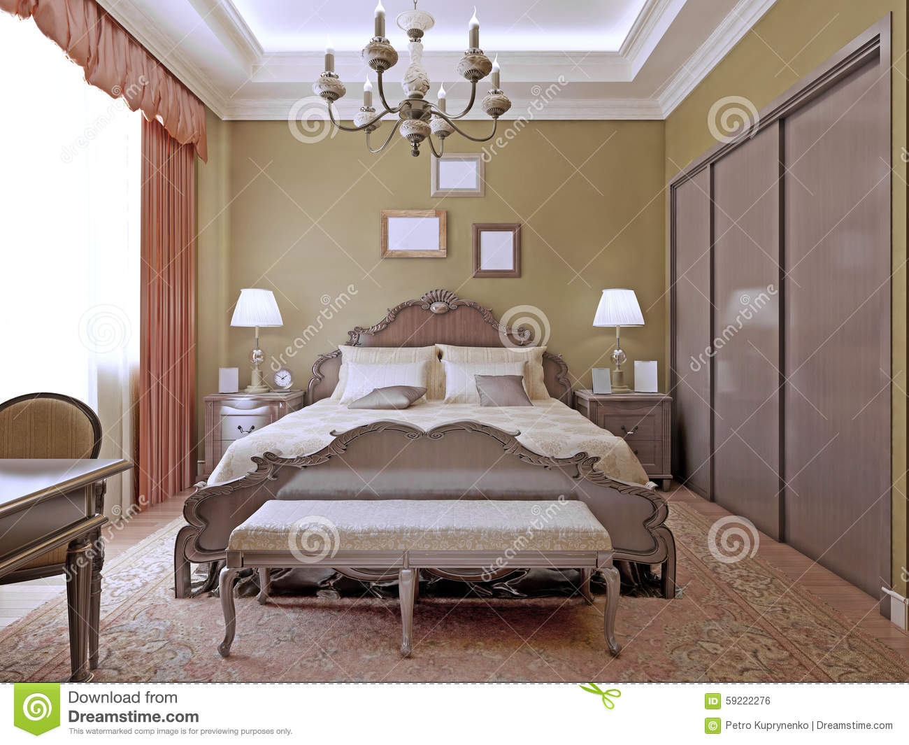Art deco bedroom with ceiling neon lights stock photo for Chambre a coucher deco