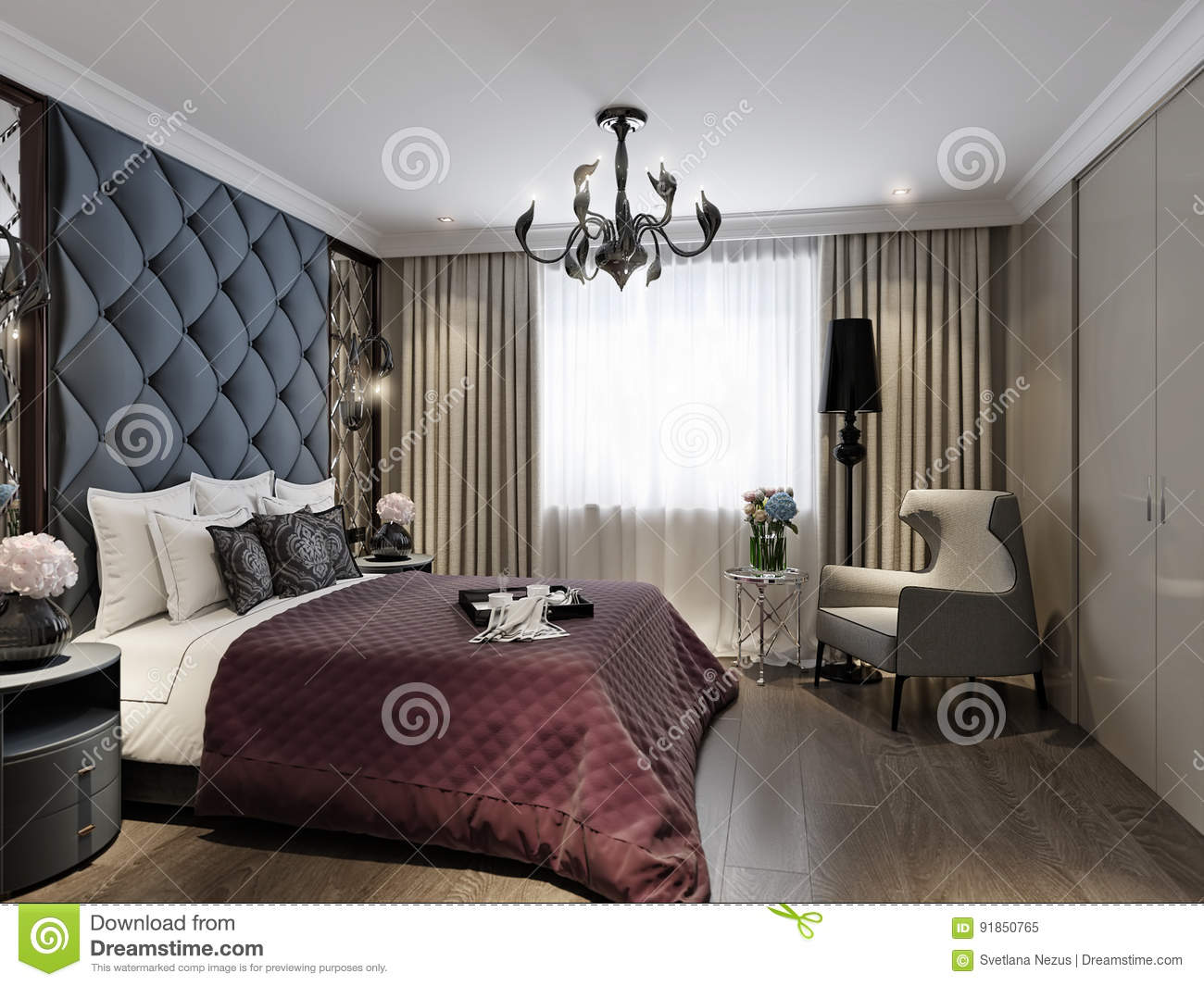 art deco bedroom interior design classique moderne illustration stock illustration du home. Black Bedroom Furniture Sets. Home Design Ideas