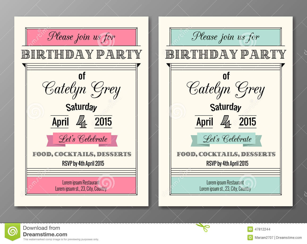 art-deco-birthday-party-invitation-vector-set-invitations-design ...