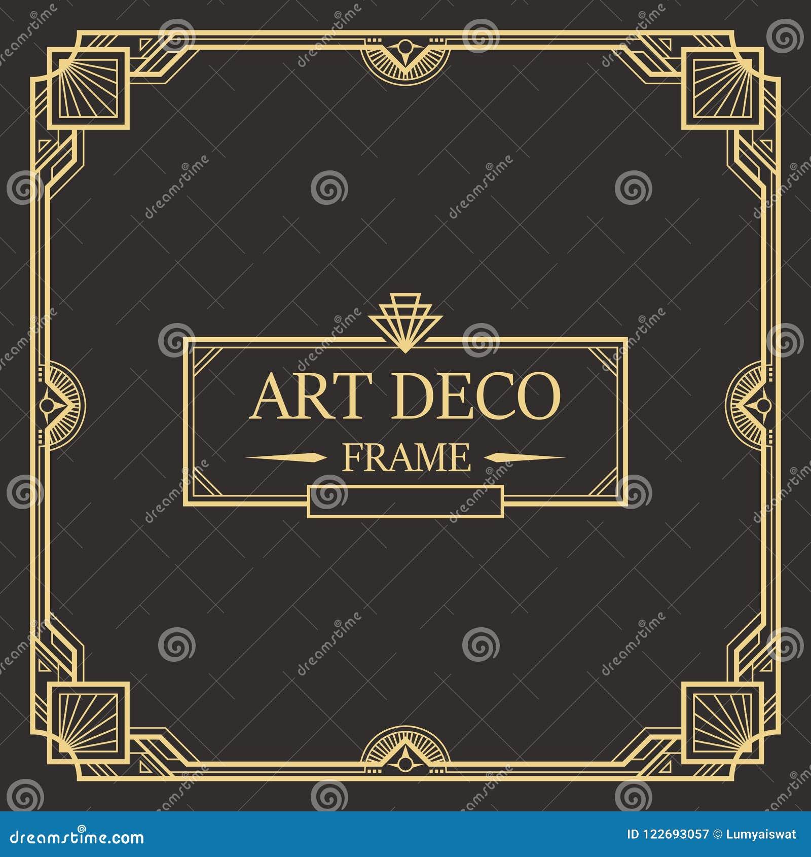art deco border and frame template stock illustration illustration