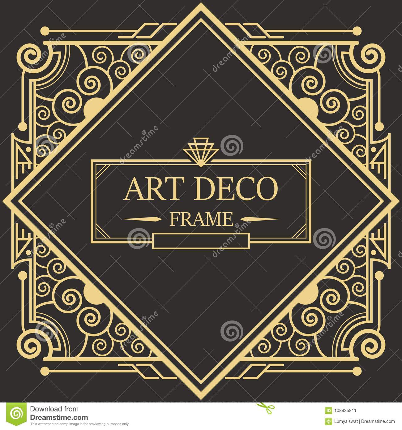 art deco border frame vector03 stock vector illustration of element collection 108925811. Black Bedroom Furniture Sets. Home Design Ideas