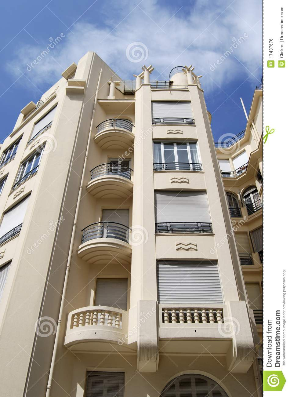 Art deco building facade in nice france royalty free for Art decoration france