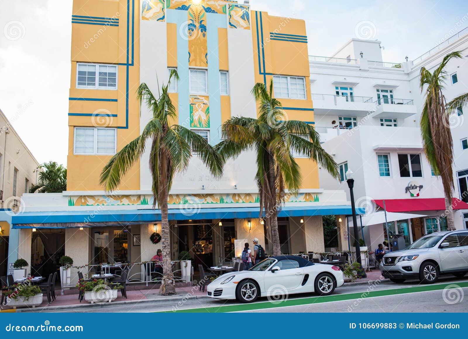 art deco building in miami beach florida editorial stock photo