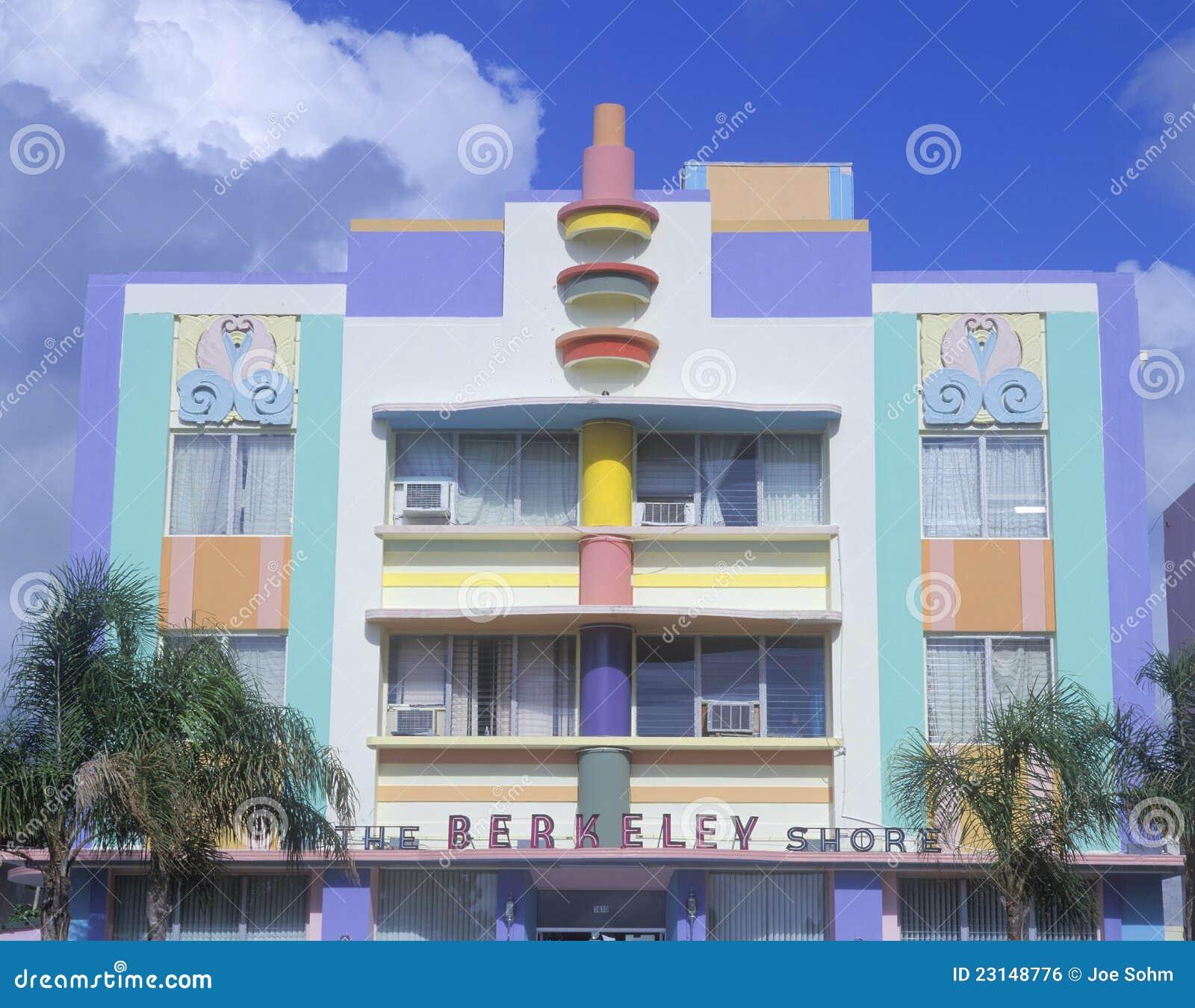 deco building in south miami fl editorial photo