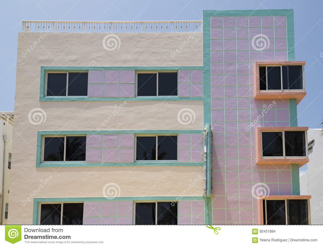 art deco buildings painted with pastel colors miami architectural