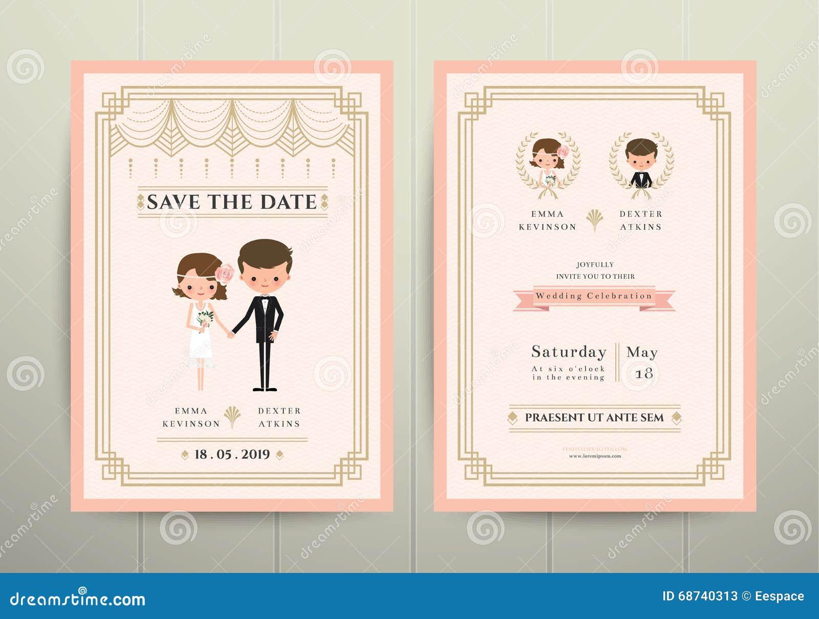 Art Deco Cartoon Couple Wedding Invitation Card Stock Vector ...