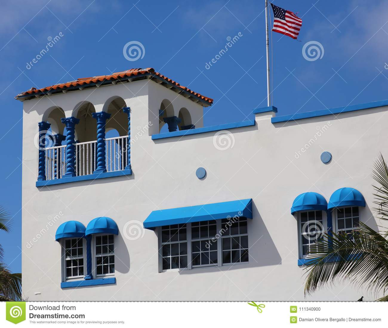 Art deco Colorful white and blue windows in the streets of Miami beach south Florida houses Ocean drive