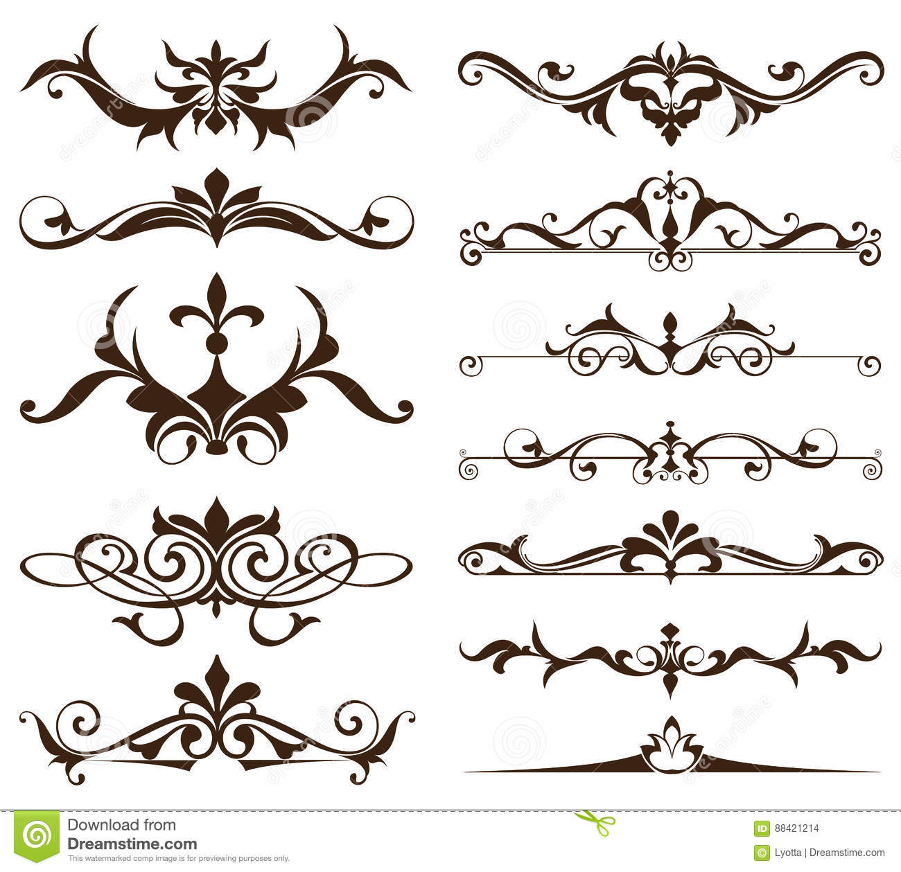Art Deco Design Elements Of Vintage Ornaments And Borders Corners The Frame Isolated Nouveau