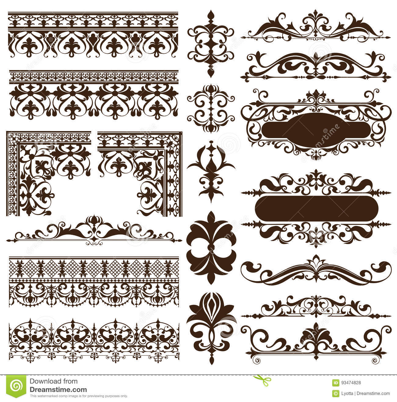 Art deco design elements of vintage ornaments and borders for Deco 5 elements