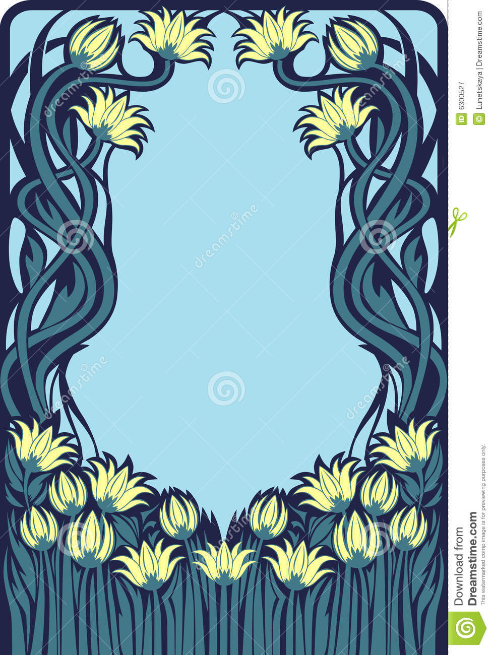 Art Deco Floral Frame Royalty Free Stock Photography Image 6300527