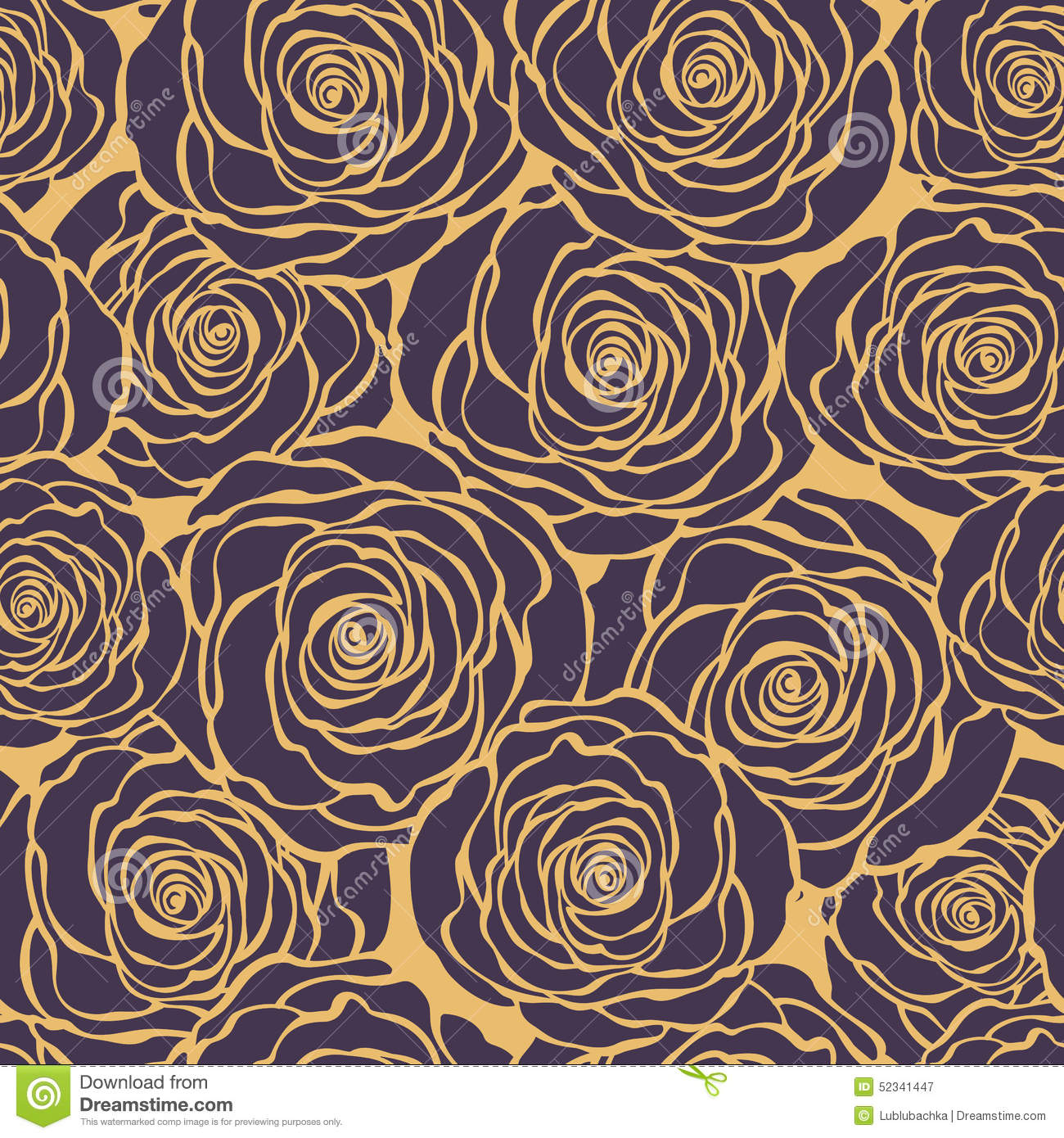 Art Deco Floral Seamless Pattern With Roses Vector Roses Hand D