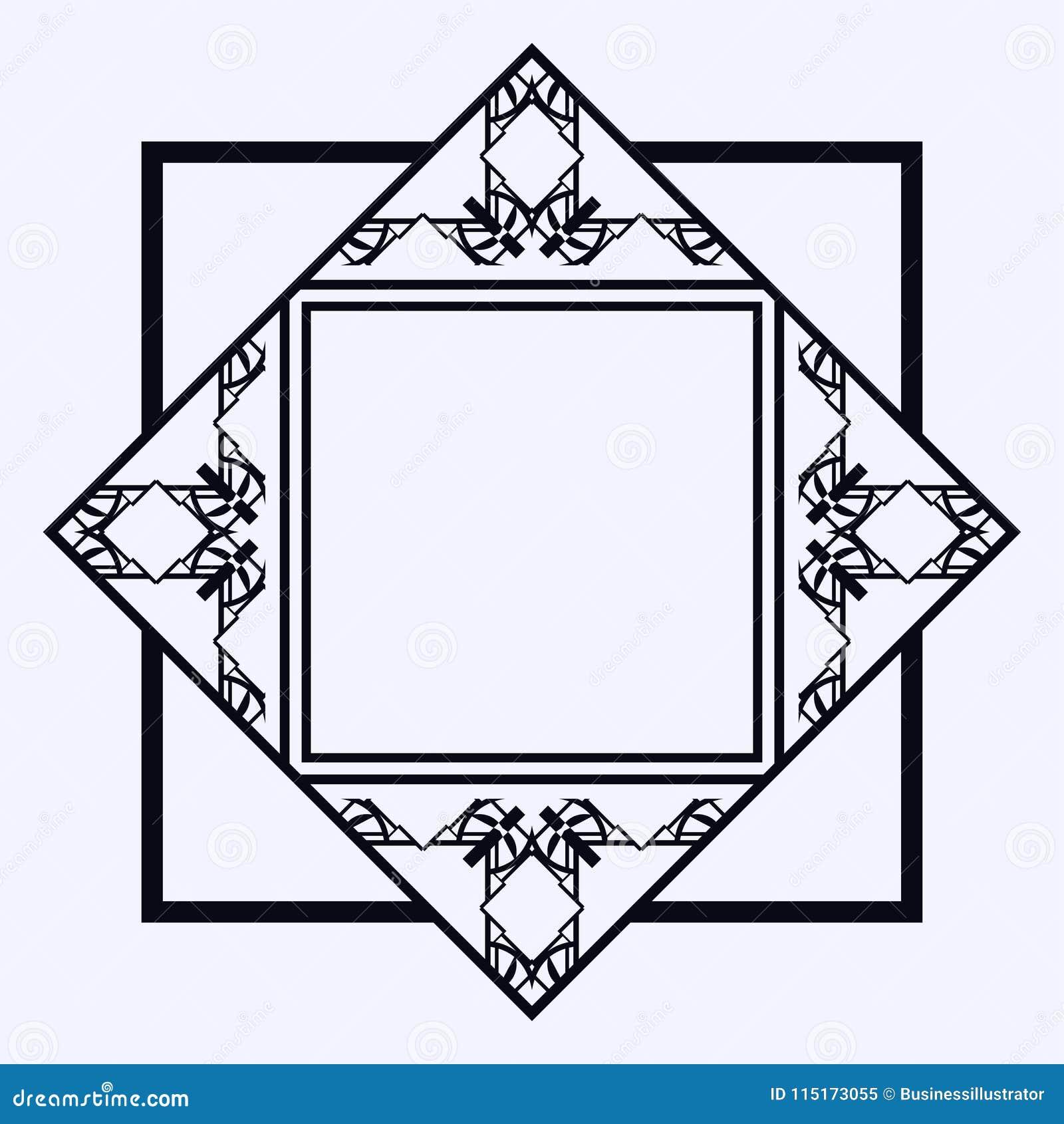 art deco frame border stock vector illustration of label 115173055