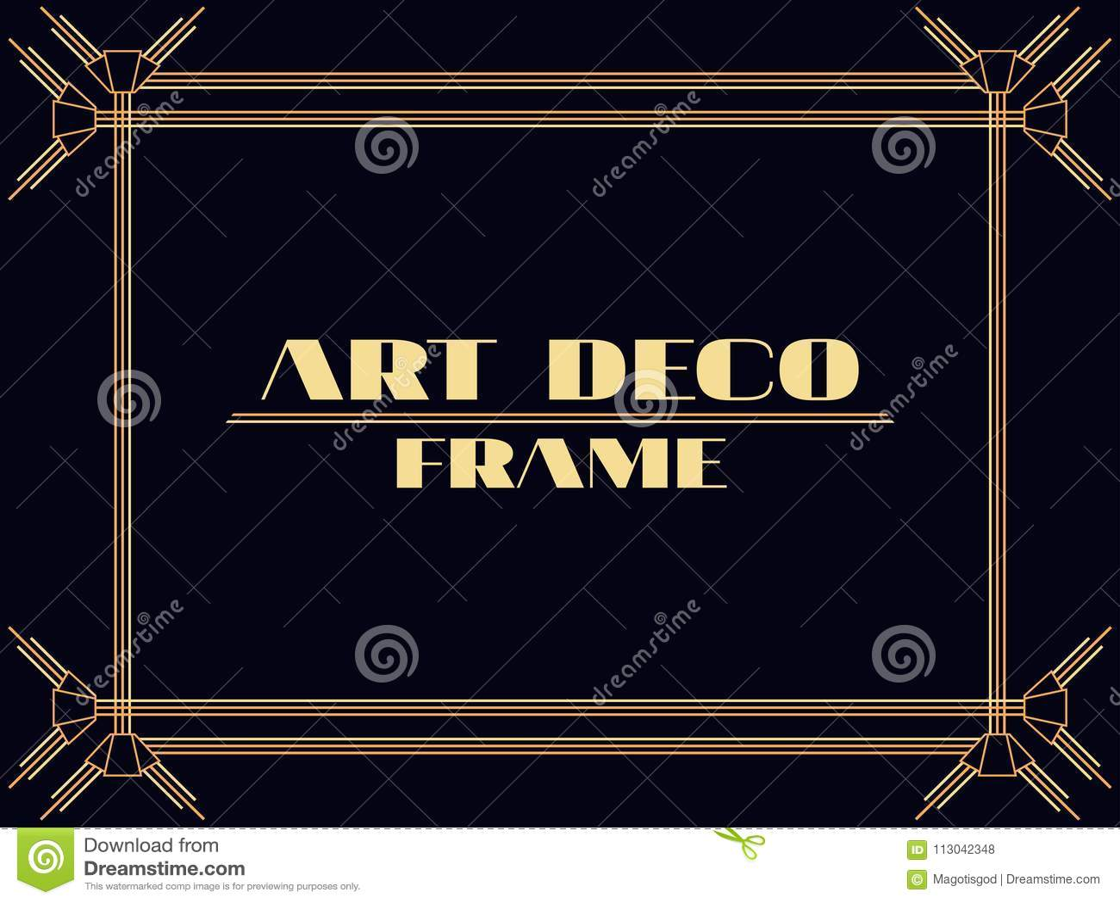 art deco frame vintage linear border design a template for