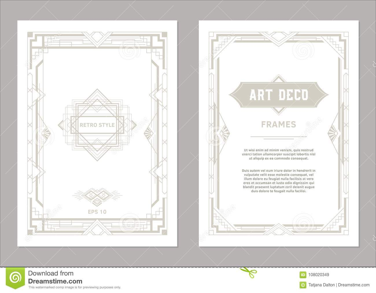Art Deco Frames Light Gold Colors Stock Vector Illustration Of