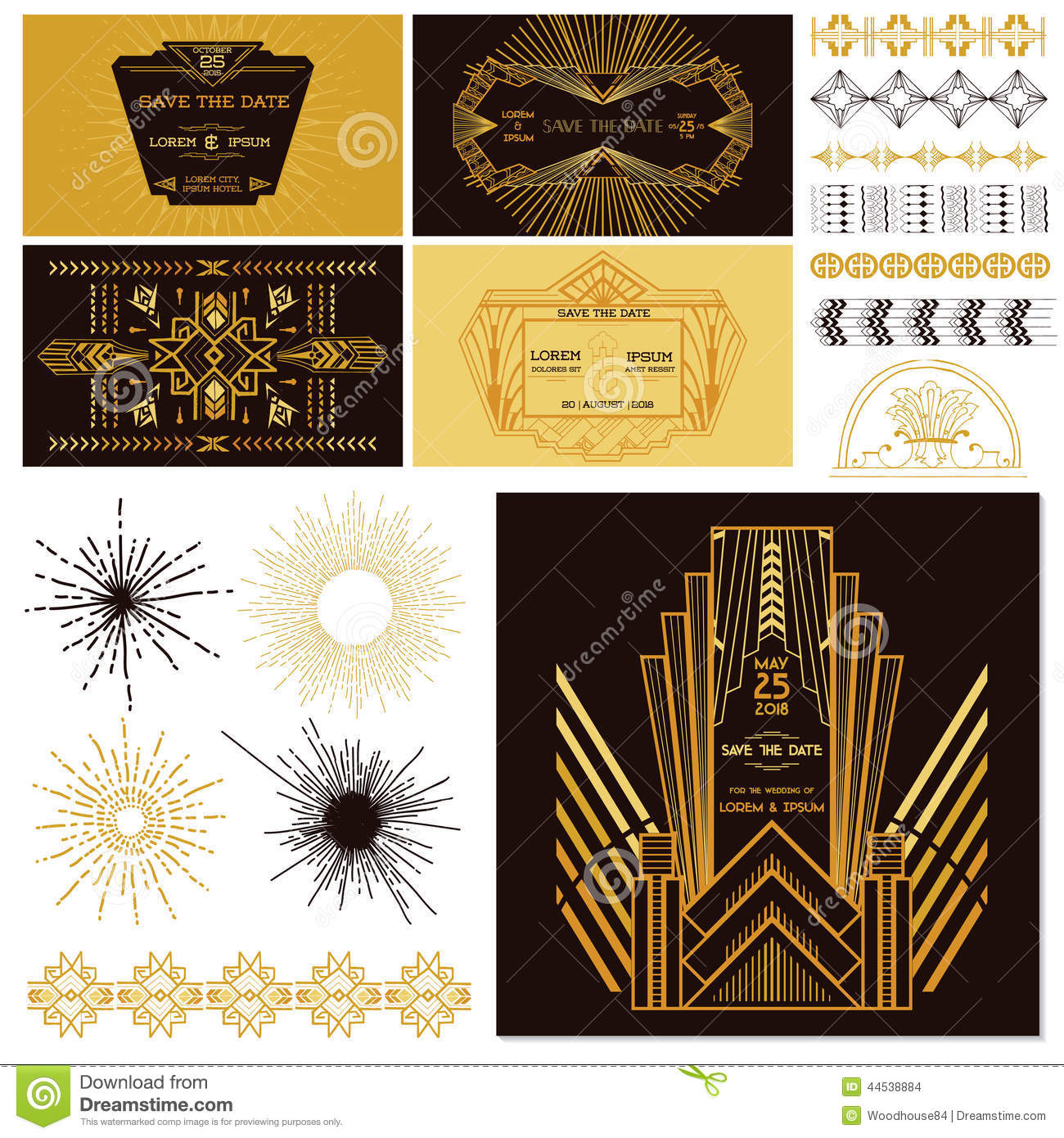 ART DECO OR GATSBY Party Set Stock Images