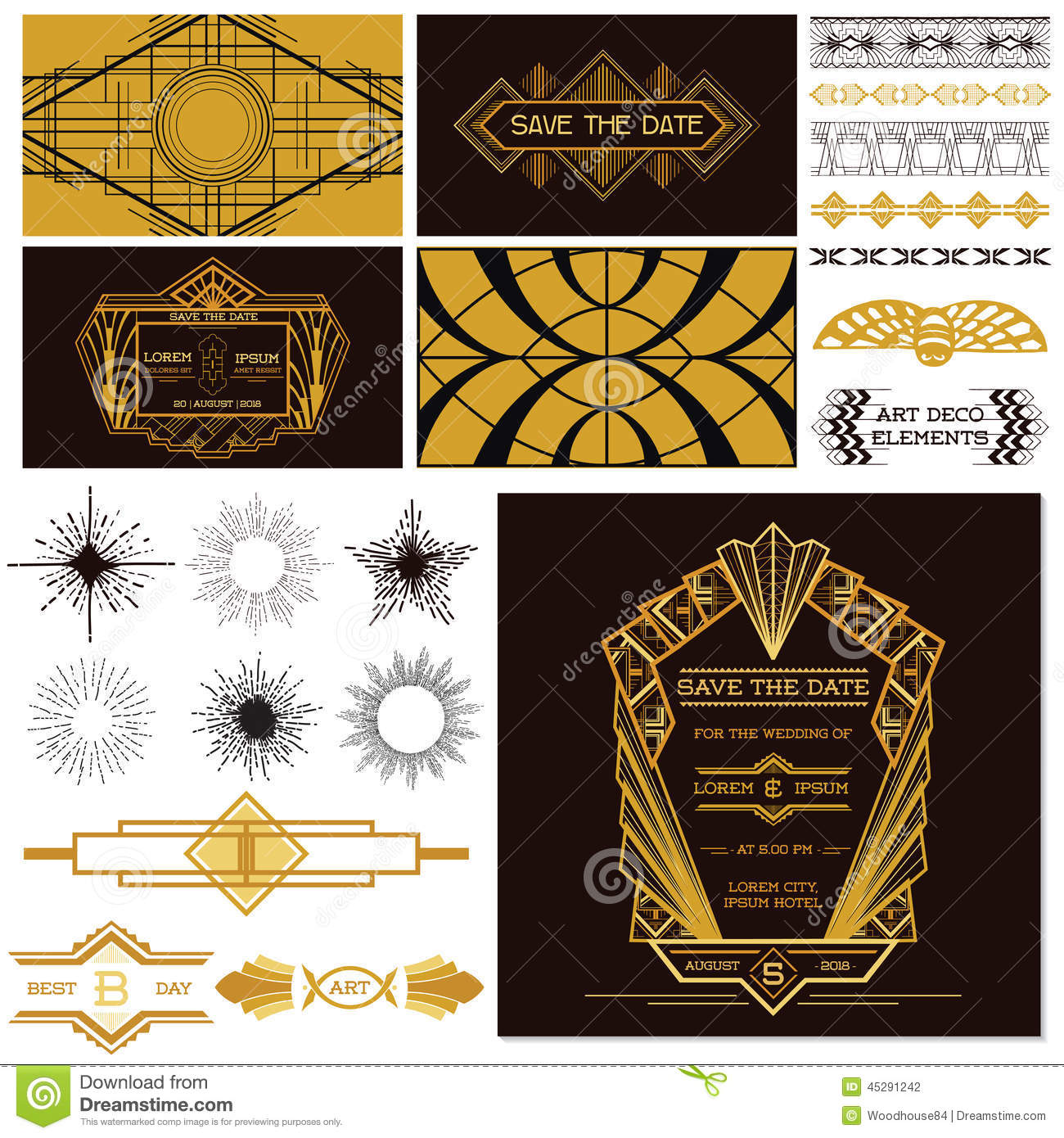 Art deco or gatsby party set stock vector image 45291242 for Art e decoration