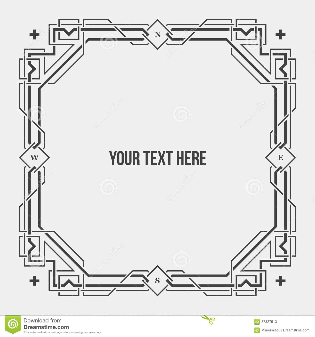 Art Deco Geometric Border/frame Stock Vector , Illustration
