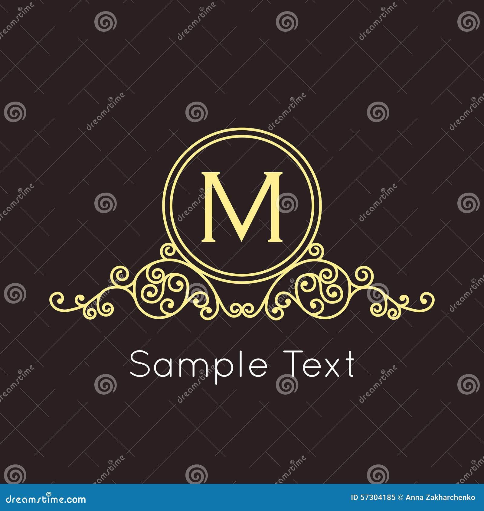 Art Deco Geometric Outline Monogram And Logo Design Element Vector