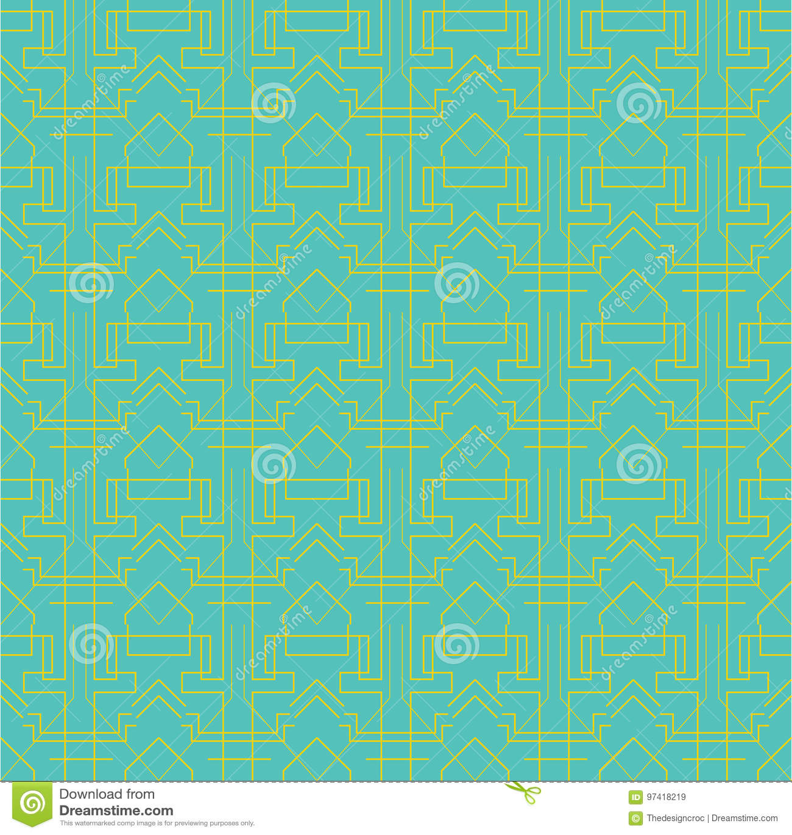 Art Deco Geometric Pattern Yellow Green Lines Blue