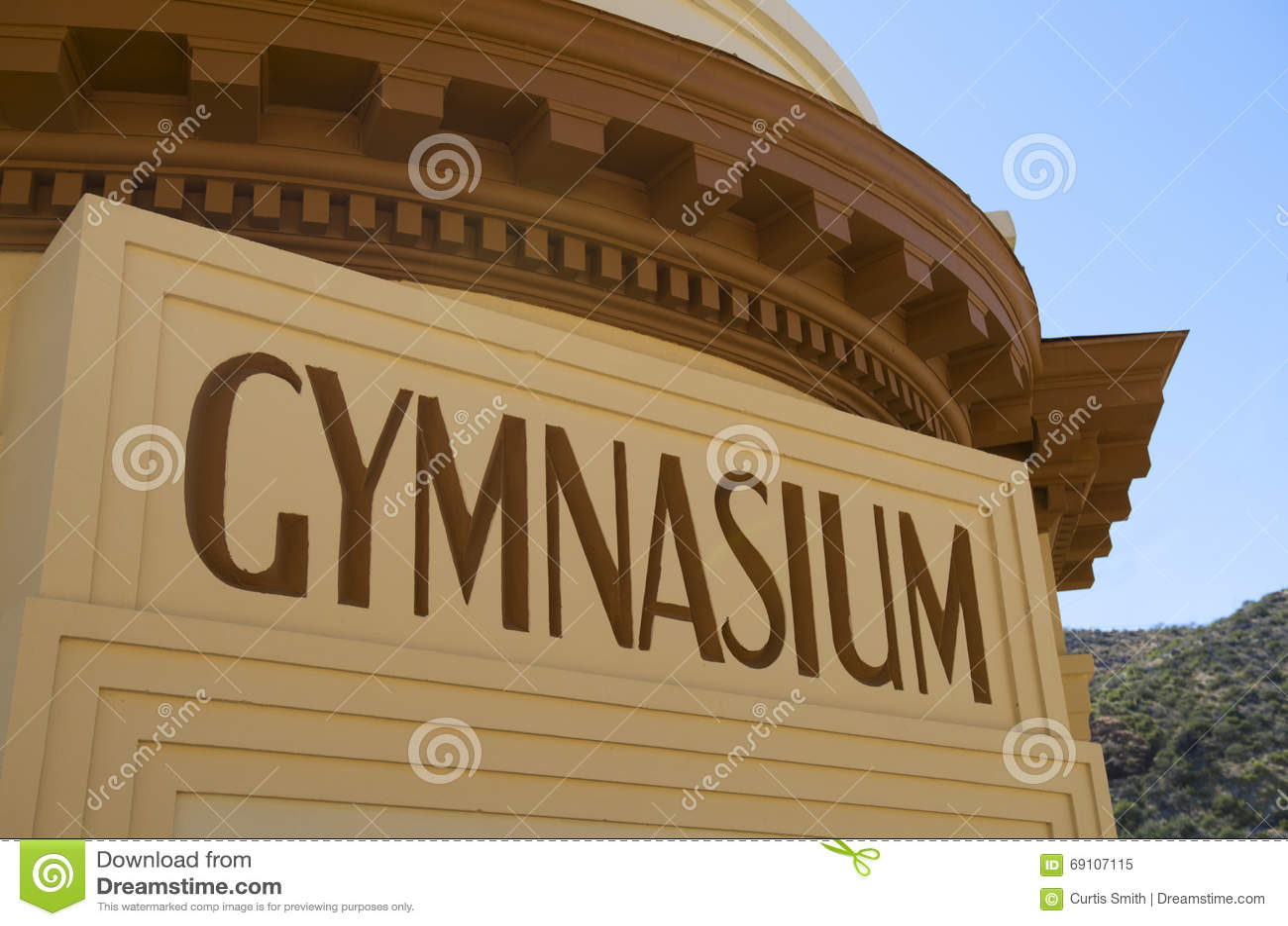 Art deco Gymnasium building marquee sign