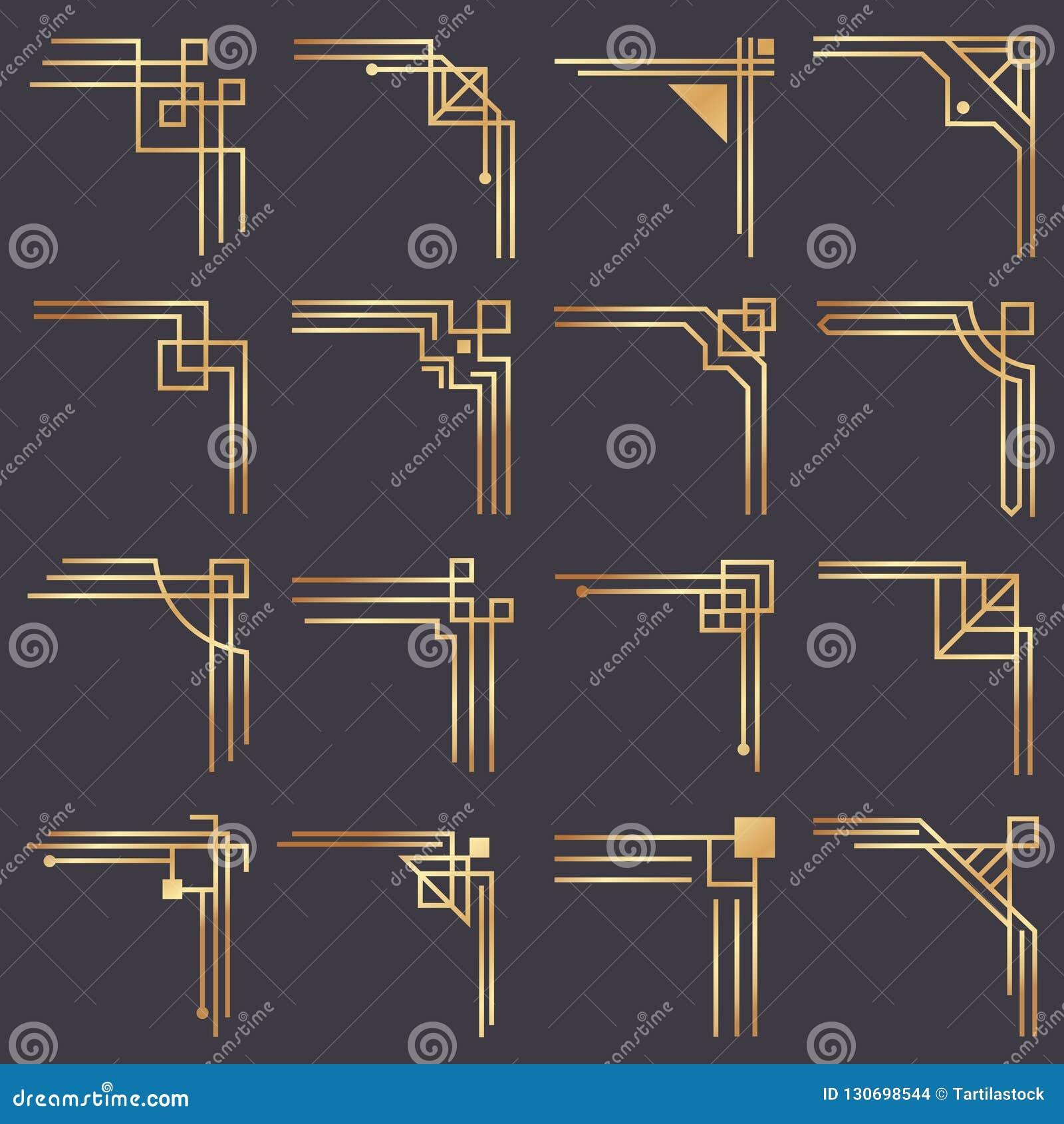 Art Deco kąt Nowożytni graficzni kąty dla rocznika złota wzoru graniczą Złotej 1920s mody linii dekoracyjna rama
