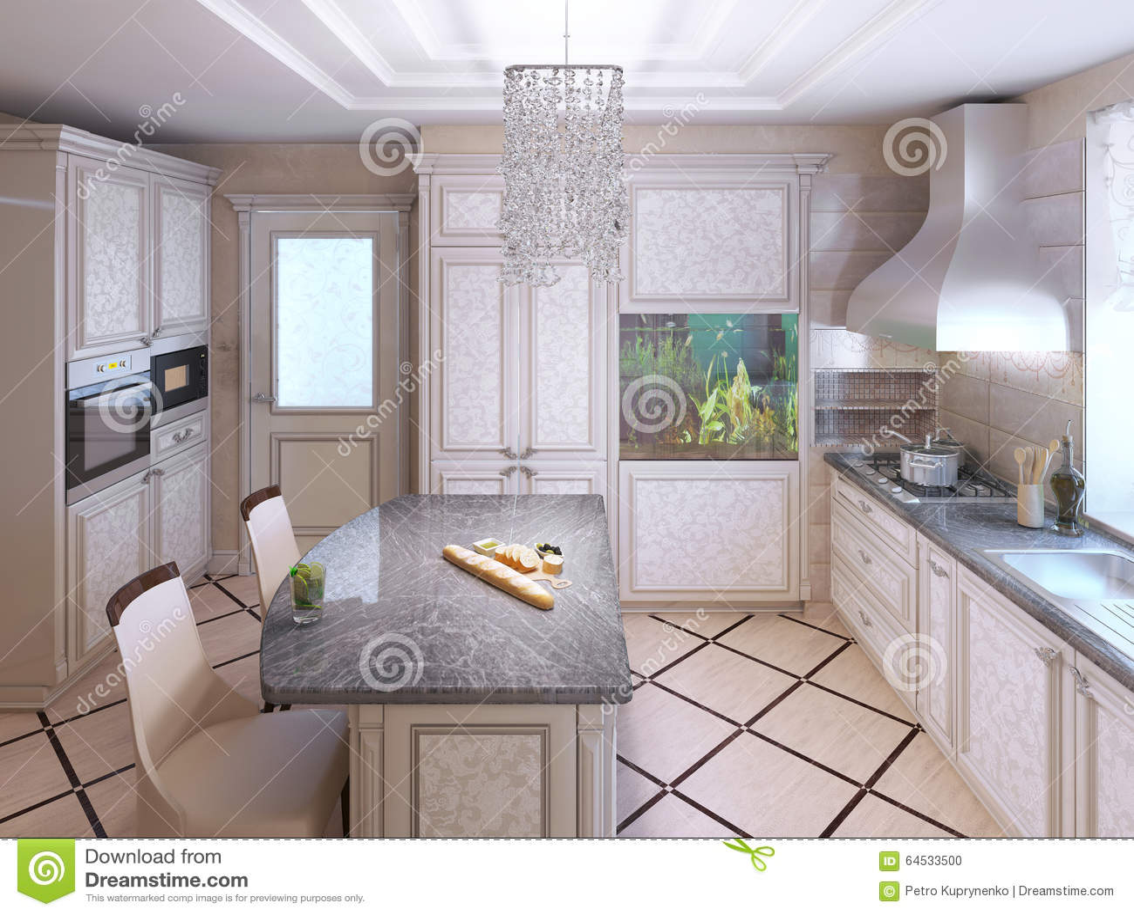 Art Deco Kuchnia Z Malującym Meble Zdjęcie Stock Obraz