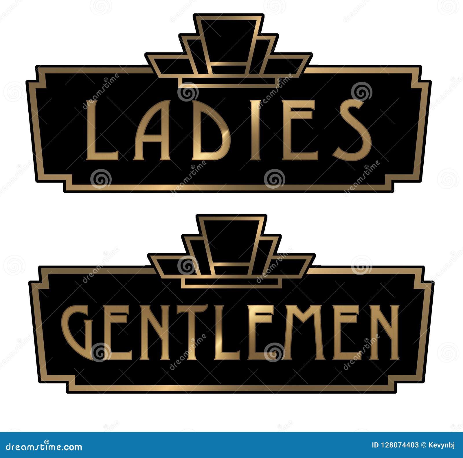 Art Deco Ladies And Gentlemen Restroom Signs Stock Illustration Illustration Of Lobby Black 128074403