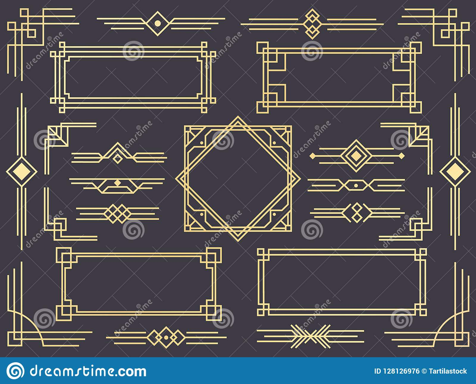 f5c46cd20641 Art Deco Line Border. Modern Arabic Gold Frames